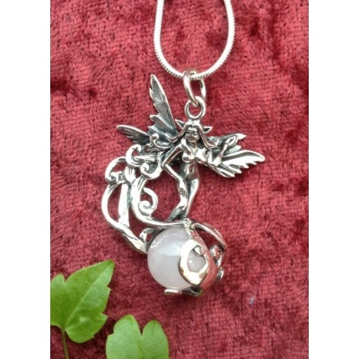 Silver Fairy & Rose Quartz pendant
