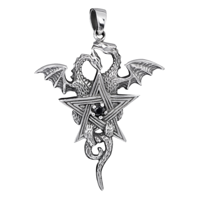 Silver Dragons with pentagram pendant
