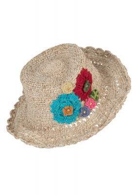Hemp wire brim flower hat Plain