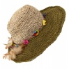 Hemp wire brim flower and feather hat green