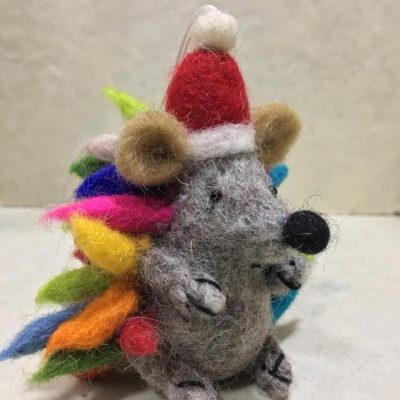 Handmade felted Christmas hedgehog