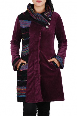 Plum colour velour coat with shawl collar