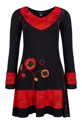 Red and black applique dress