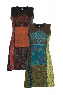 Lotus print patchwork dress