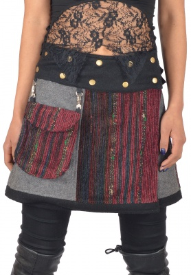 Wool and silk gheri wrap skirt