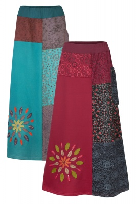 Long cotton fleece patchwork skirt