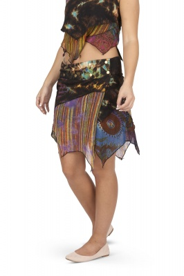 Marble tie dye layered wrap skirt