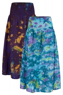 Funky marble tie dye skirt with pockets