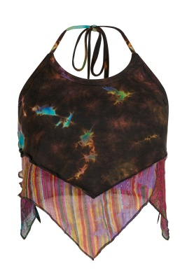Marble tie dye halter neck top