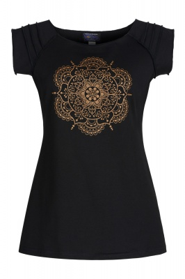 Golden mandala off the shoulder top