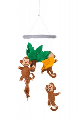 Handmade felted Monkeys mobile