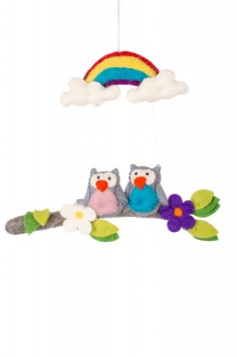 Handmade felted Owls rainbow wall hanging