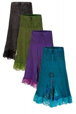 Mid length skirt with patchwork & lace