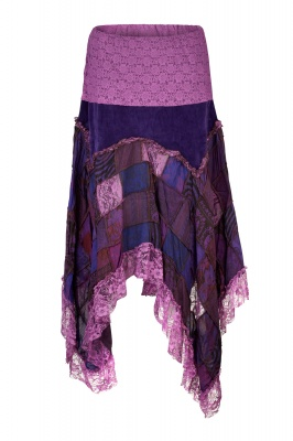 Velvet pixie skirt with patchwork lace