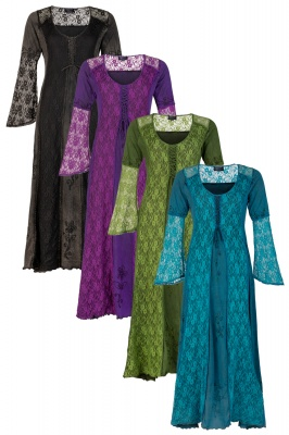 Long medieval style dress with bell sleeves