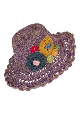 Hemp wire brim flower hat Purple