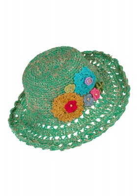 Hemp wire brim flower hat Green