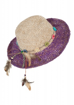 Hemp wire brim flower and feather hat purple