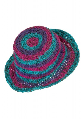 Hemp wire brim colourful hat