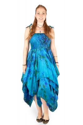Tie dye pixie dress long Plus Size - Blue/Green