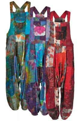 Tie dye patchwork harem dungarees