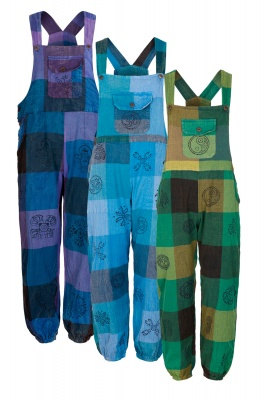 Long patchwork dungarees