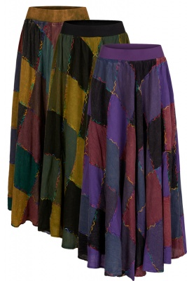 Long patchwork hippie skirt