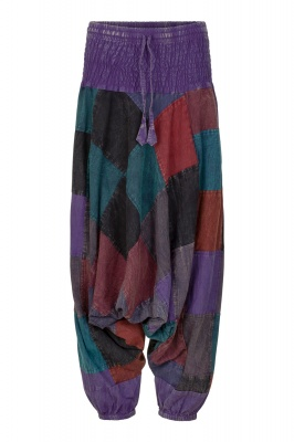 Long patchwork unisex harem trousers