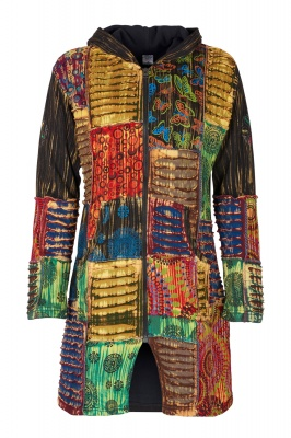 Long fleece lined patchwork jacket