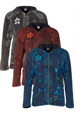 Fleece lined hooded jacket with applique