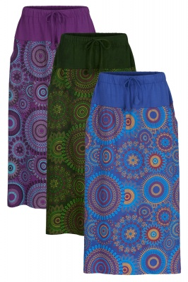 Mandala printed maxi skirt with pockets