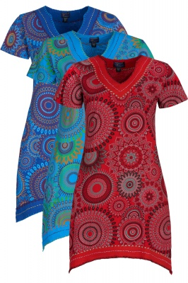 Mandala short sleeve dress with pockets