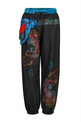 Embroidered long trousers with attached purse