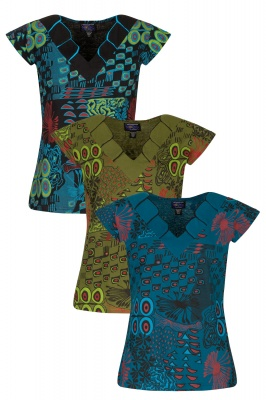 Cap sleeves printed cotton top