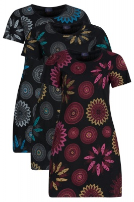 Mandala flower short sleeve dress with pockets