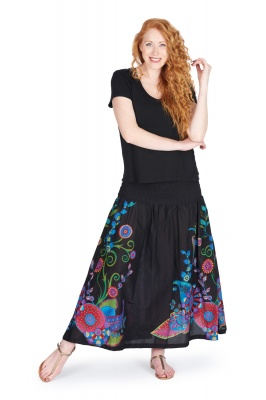 Rainbow flower black skirt with pocket