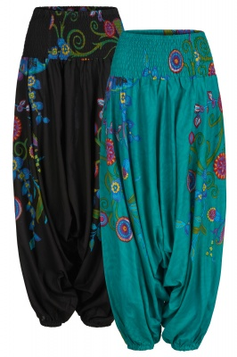 Rainbow flower harem trousers with pockets