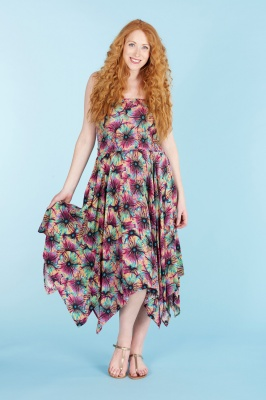 Colourful floral handkerchief hem dress