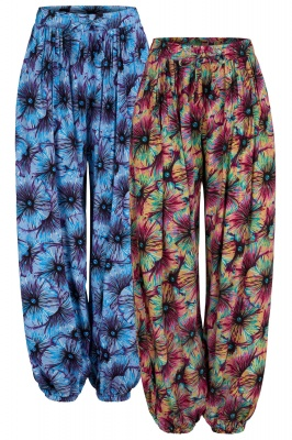 Long extra baggy floral trousers