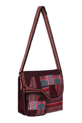 Screen printed gheri cotton shoulder bag