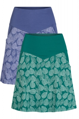 Organic cotton leaf print skirt