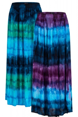 Long tie dye skirt with embroidery