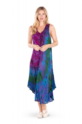 Tie dye long umbrella dress