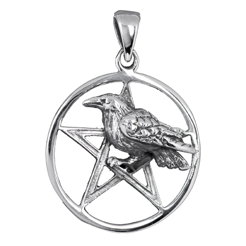 Silver Crow on pentagram pendant