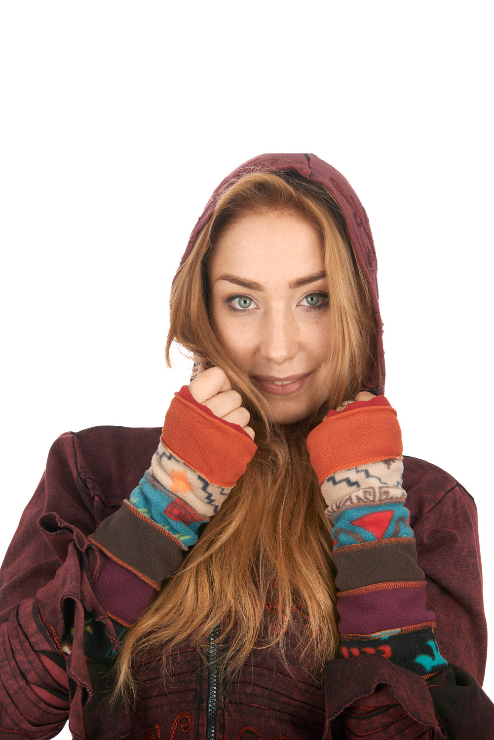 Patchwork fleece wrist warmers