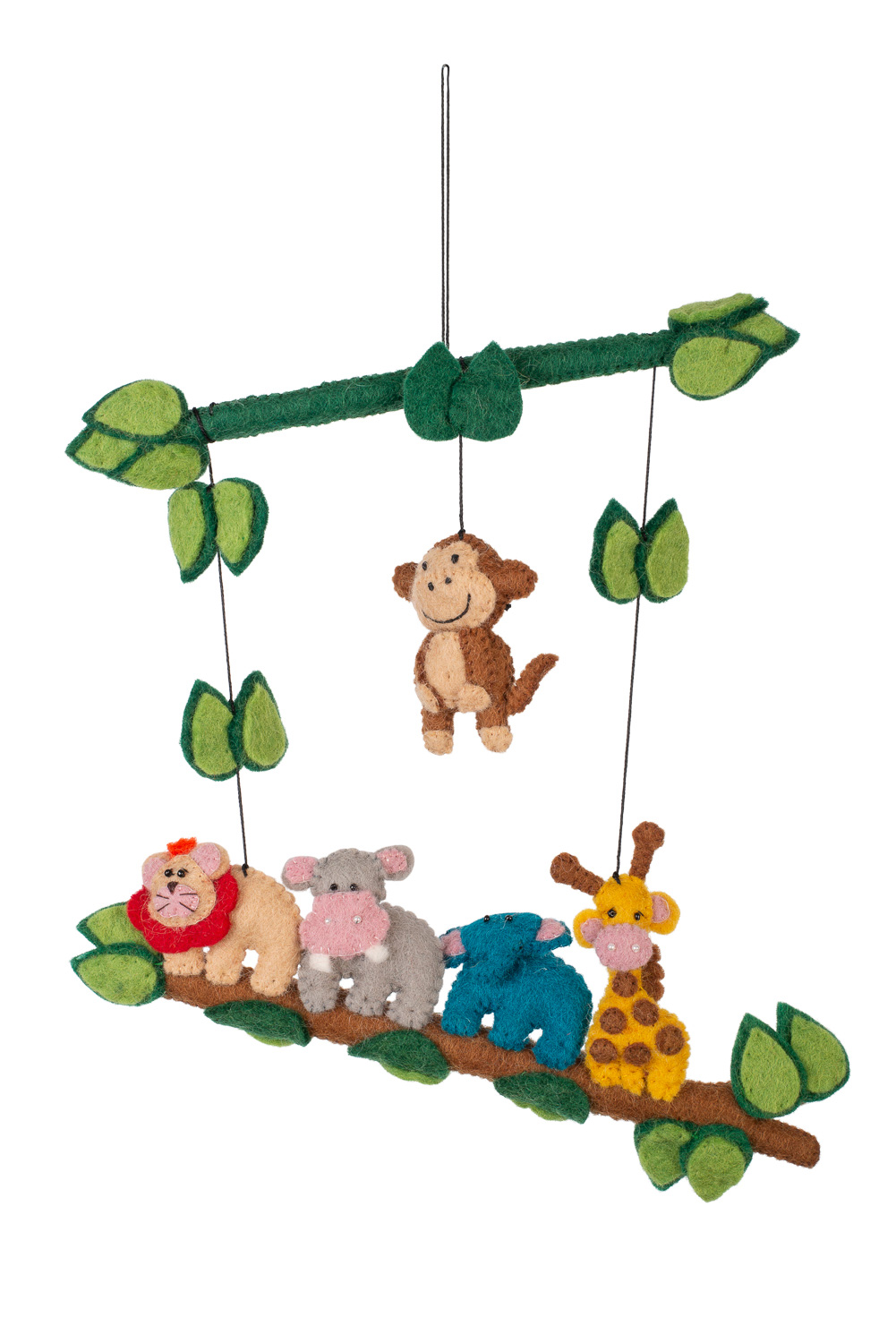 Handmade felted Jungle animals wall hanging