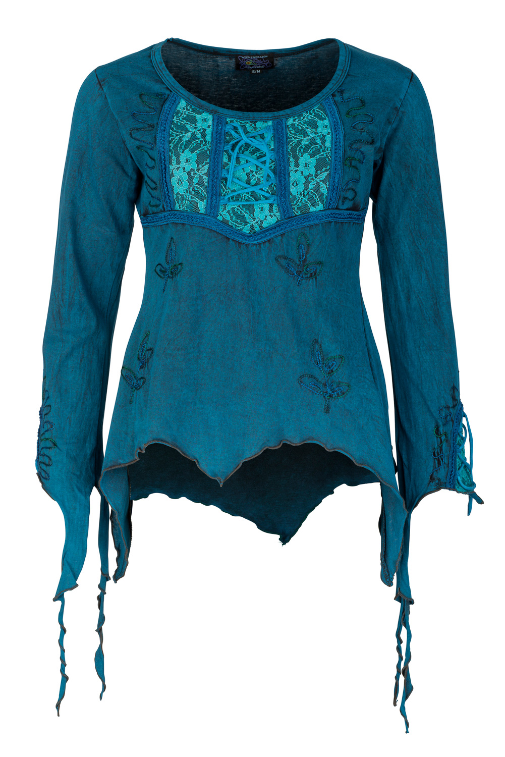 Pixie top with lace and embroidery