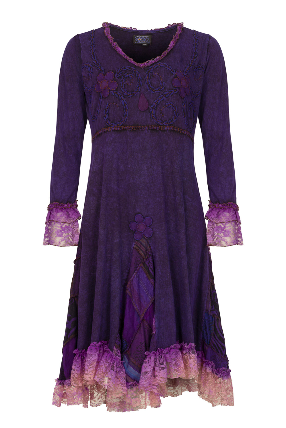 Boho style dress with patchwork and lace