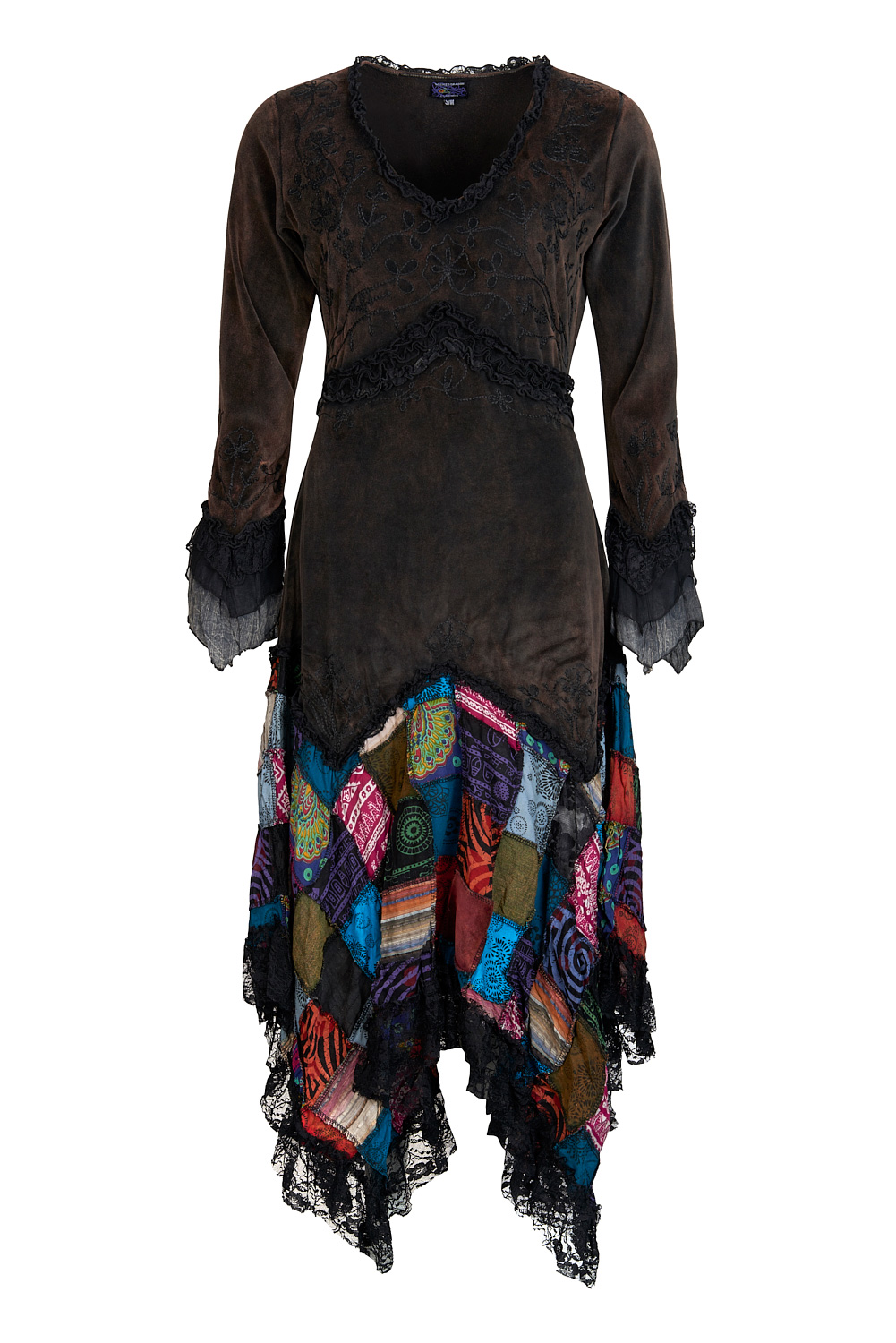 Long velvet boho style dress with patchwork skirt