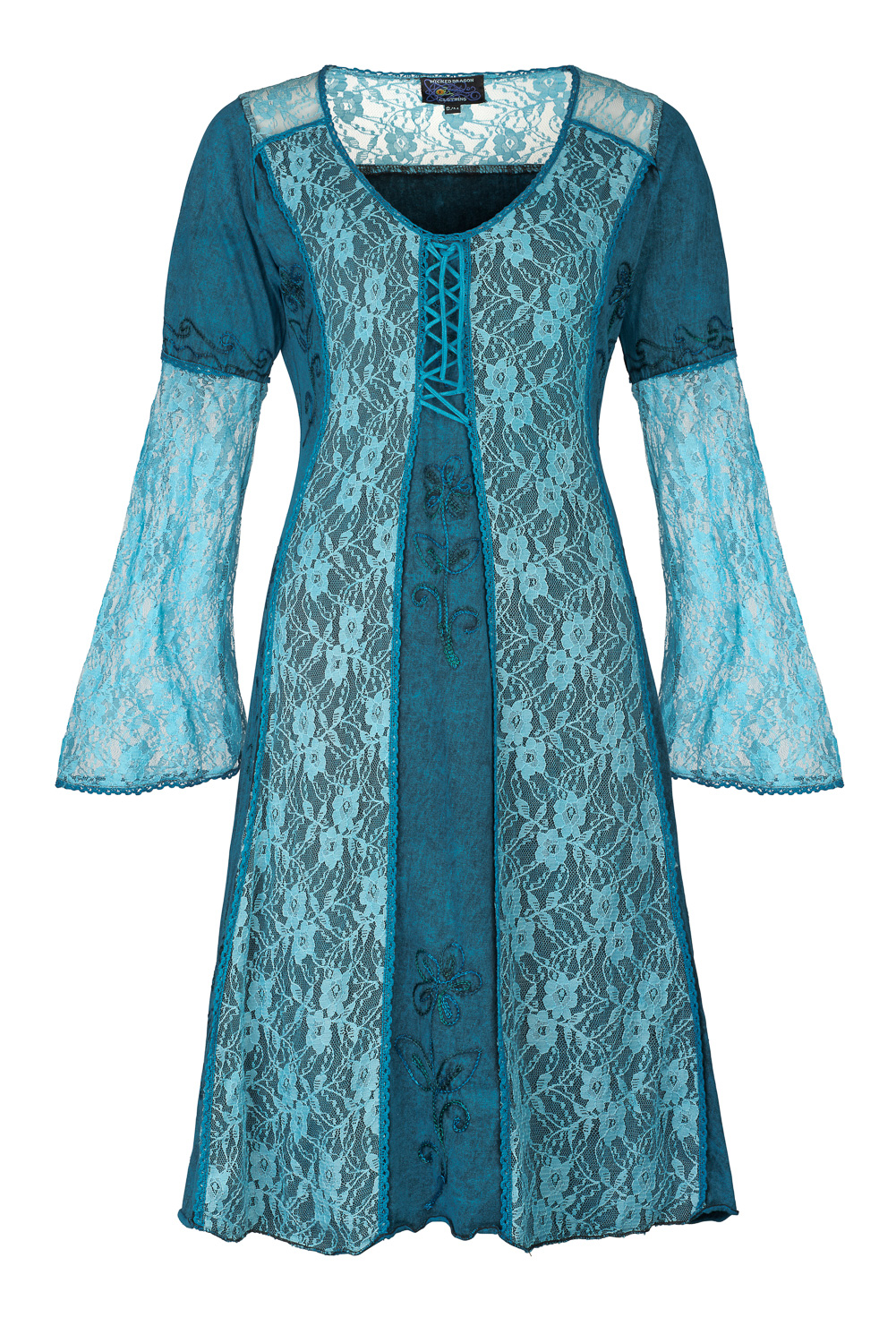 Lace and cotton dress with bell sleeves
